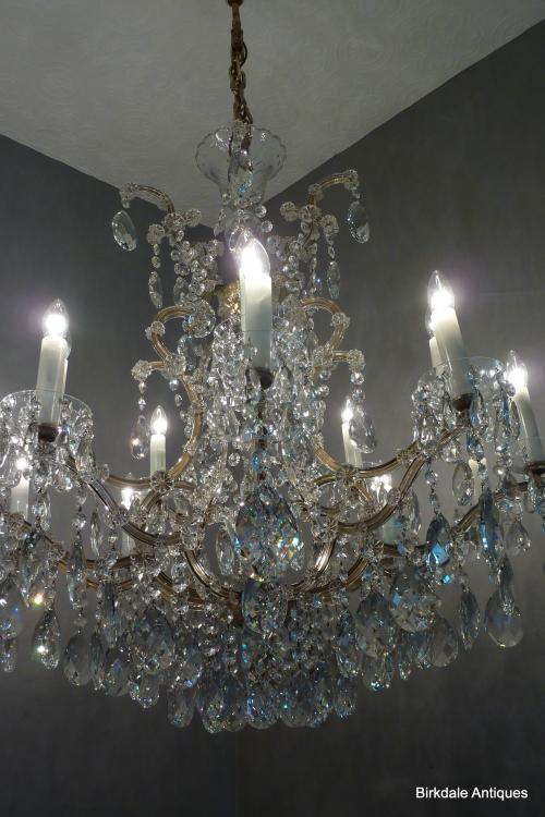 An extremely fine Antique Bohemian Crystal Chandelier. Comprising of gilded  steel bird cage frame and very fine Bohemian, almond cut glass crystal  drops up ... - Huge Bohemian Crystal Chandelier Antique Chandeliers For Sale UK