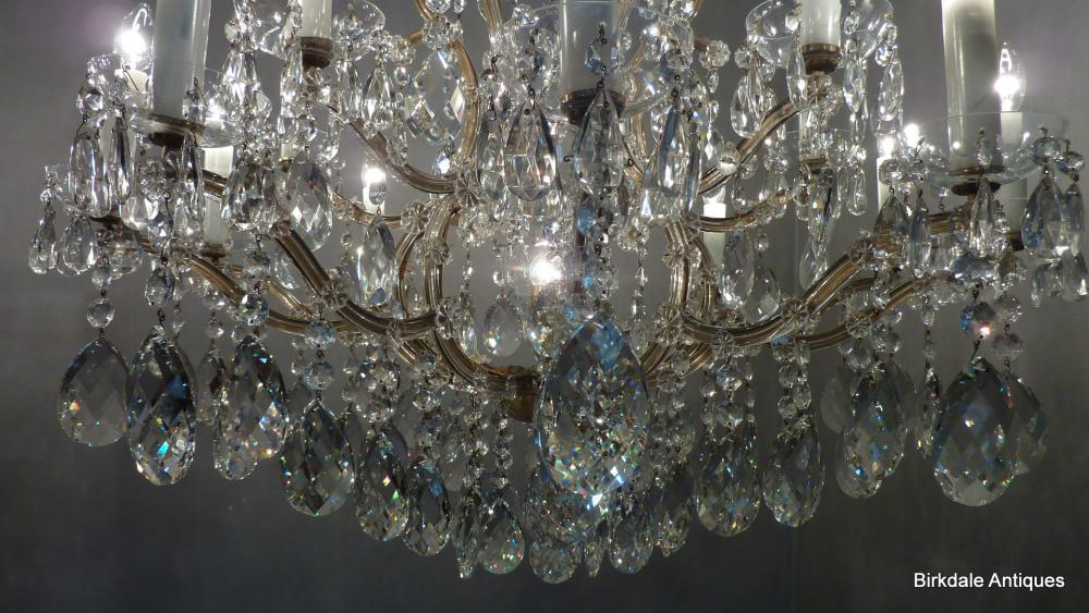 An Extremely Fine Antique Bohemian Crystal Chandelier Comprising Of Gilded Steel Bird Cage Frame And Very Almond Cut Glass Drops Up